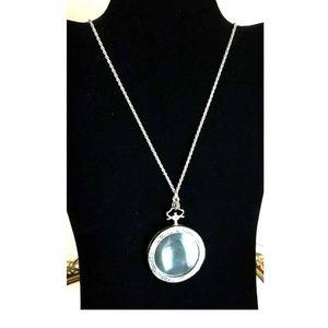VTG Silvertone Filigree Magnifying Glass Necklace